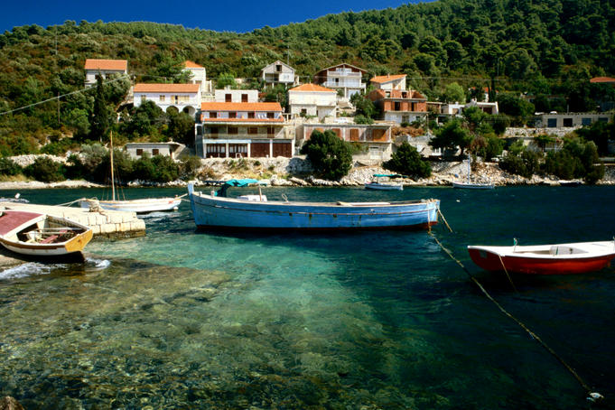 Boats moored on the beautiful island of Korcula on the Southern Dalmatian Coast.
