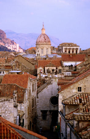 View of the old town of Dubrovnik and the dome of the Cathedral of the Assumption of the Virgin.