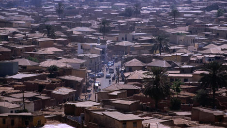 Town rooftops from Dala Hill, Nigeria