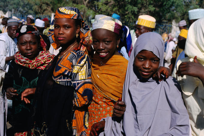 Young women from Kano gather for the Durbar Festival.