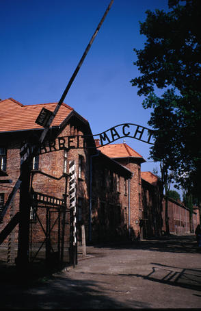 "Arbeit Macht Frei, ""Work makes free"" - The grim entrance to the Auschwitz concentration camp."