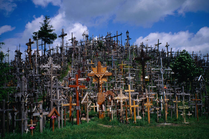 A virtual forest of crucifixes on the Hill of Crosses; a unique and eerie landmark