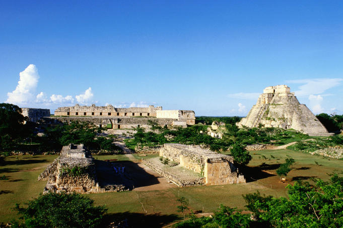The town of Uxmal was first occupied around 600AD and rediscovered by archaeologists in the 19th century.