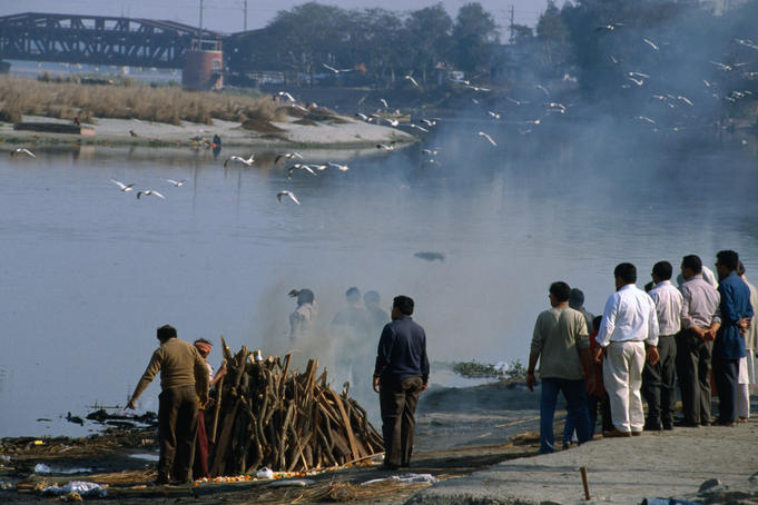 Nigambouth Ghat, the main cremation area for Delhi's Hindu and Sikh population.