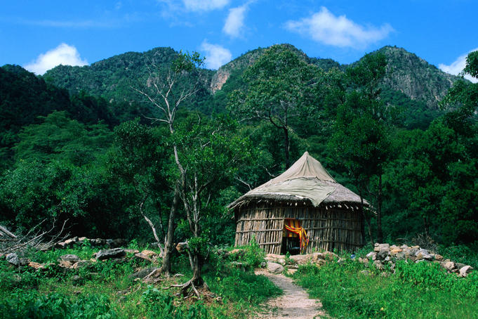 Tourist huts in the lush Goda Mountains
