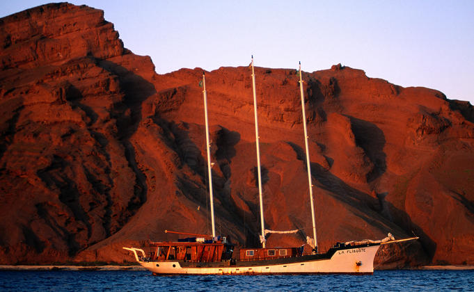 French operated dive ship offering live-on board trips around the Sept Freres Islands