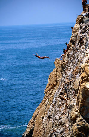 Cliff diver at La Quebrada.