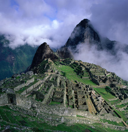 Machu Picchu overlooking the sacred Urubamba River Valley.