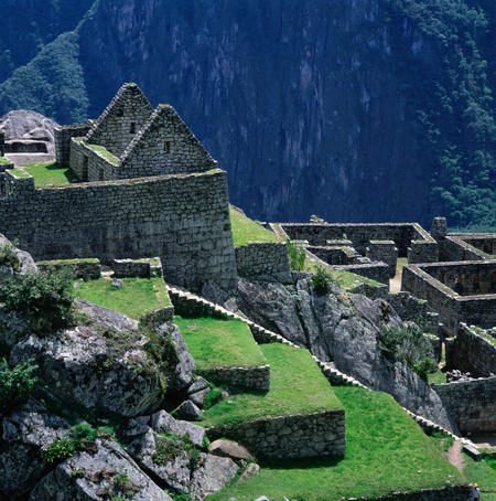 Machu Picchu overlooking the sacred Urubamba River Valley. The site was abandoned after the Spanish conquest of Peru by Pizarro in 1532.