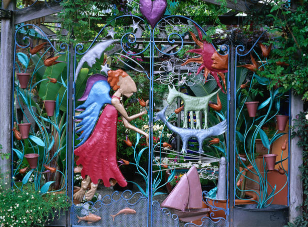 Distinctive metal gates of the Brunswick Street nursery in Fitzroy.