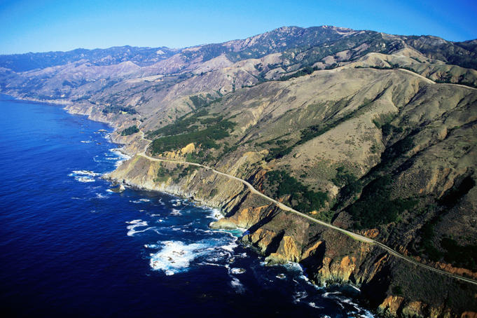 Aerial of Big Sur coastal highway.