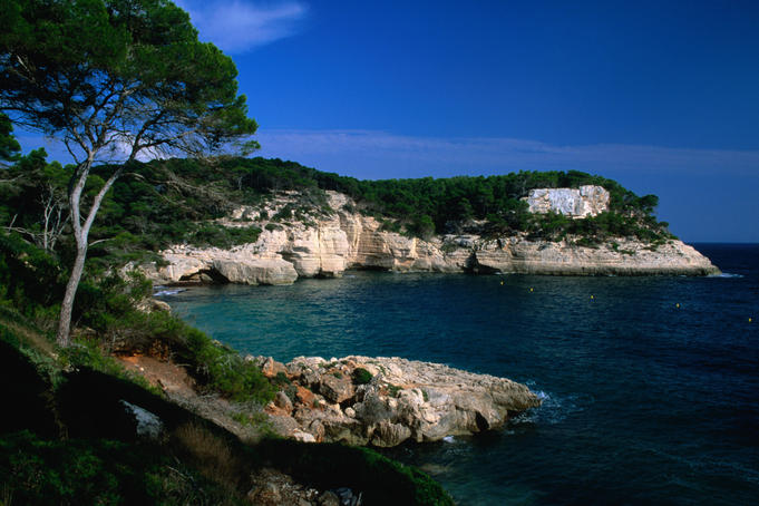 The coastline at Cala Mitjana (Mitjana Cove).