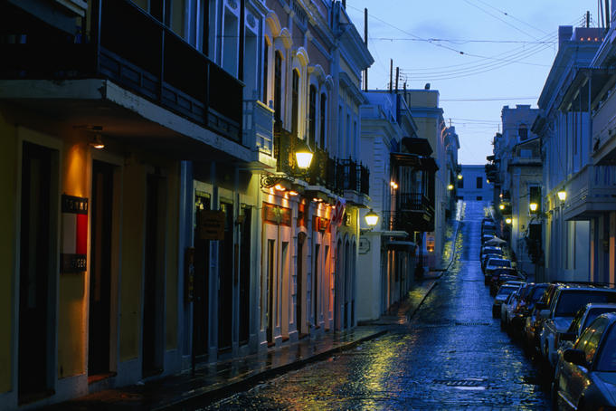 Dusk over Old San Juan and Calle del Cristo.