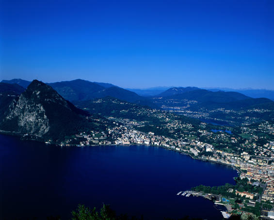 Lake Lugano and Monte San Salvatore from Monte Bre.