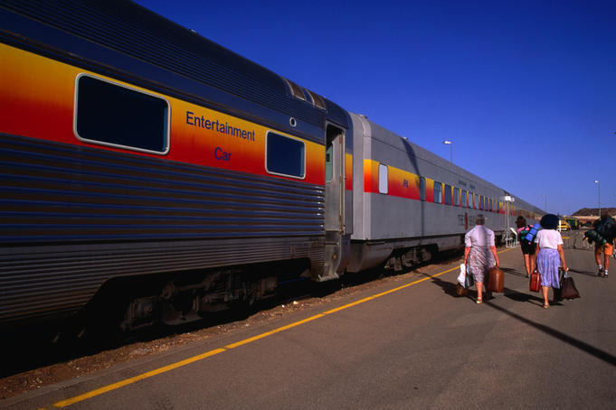 The Ghan passenger train at Alice Springs.