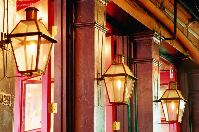 Historic streetlamps on Decatur Street in French Quarter.
