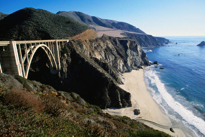 Completed in 1932 Bixby Bridge is supported by 600,000 pounds of steel reinforcement and 825 truck loads worth of concrete - Big Sur, California