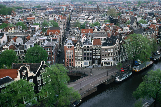 Overhead of gabled houses in the Joordan area, from tower of Westerkerk.