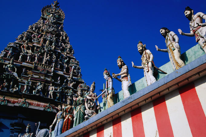 Statues adorn Sri Srinivasa Perumal Temple, large complex devoted to Vishnu.