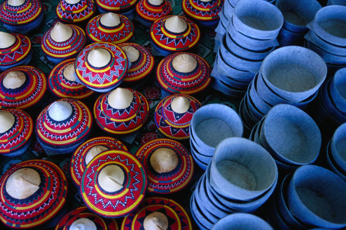 Locally made baskets and ceramic bowls for sale in Najran Basket Souq.