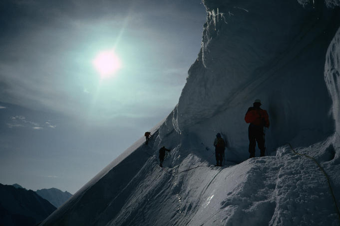 Climbers traversing the Jungfrau glacier.