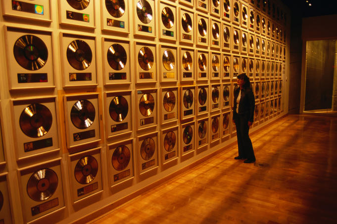 Wall of Gold Records in Nashville Country Music Hall of Fame.