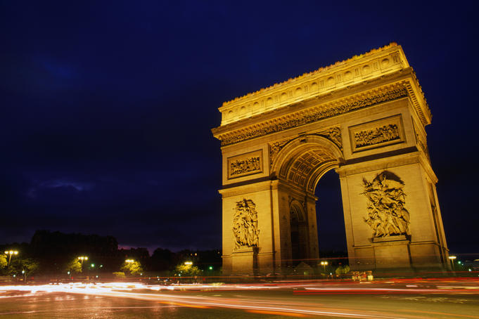 The famous Arc de Triumphe in Paris. Commissioned in 1806 by Napoleon, shortly after his victory at Austerlitz, it was not finished until 1836.