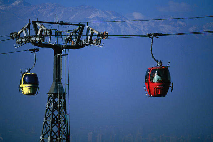 The teleferico (aerial tramway) that climbs to the top of Cerro San Cristobel (869m).