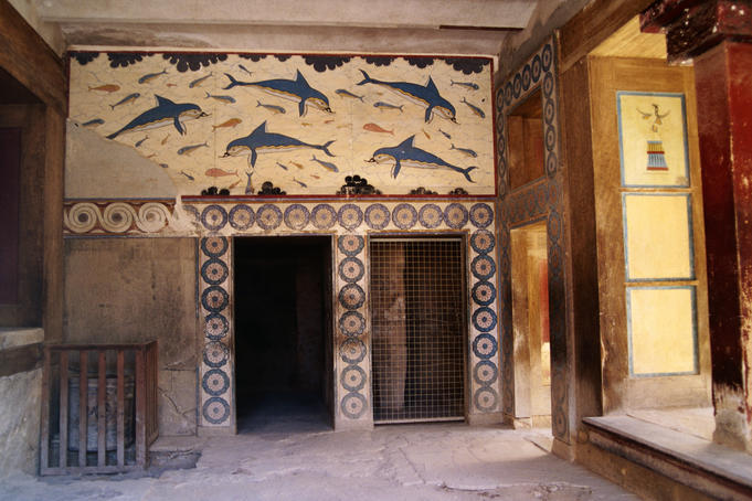 Dolphin mural from the Queen's apartments in the Palace of Knossos - Knossos, Iraklio Province, Crete