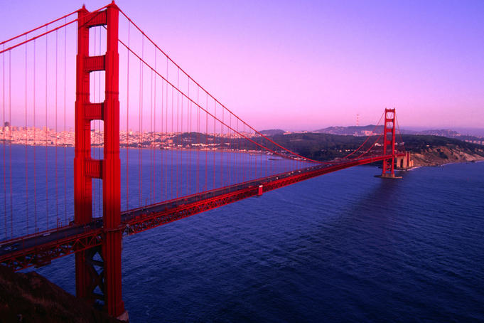 A San Francisco icon, the Art-Deco Golden Gate Bridge.
