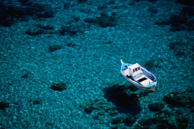 A fishing boat moored off the south coast of Crete.
