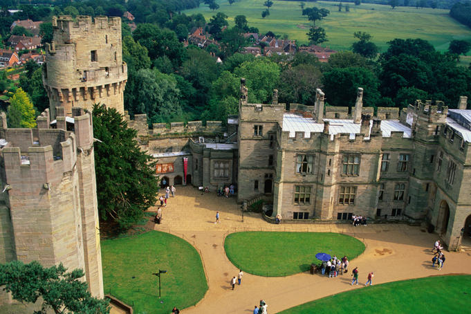 Overhead of Warwick Castle.