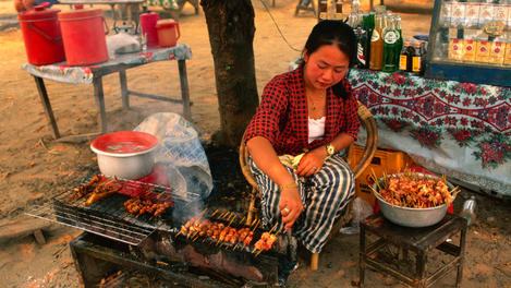 Streetside grill in Luang Prabang