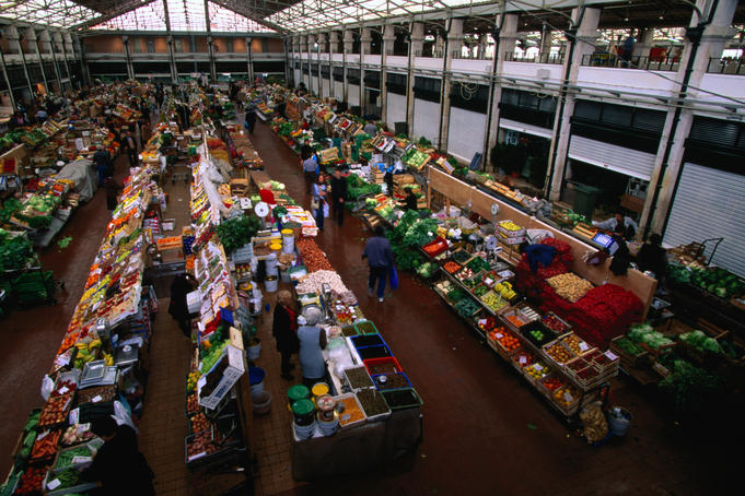 Mercado de Ribeira is a large fresh produce market with fruit and vegetables, Cais de Sodre.