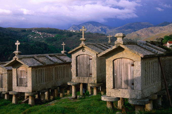 The espigueiros of Peneda-Geres National Park. The huts are used as storage to protect grains and crops from vermin.