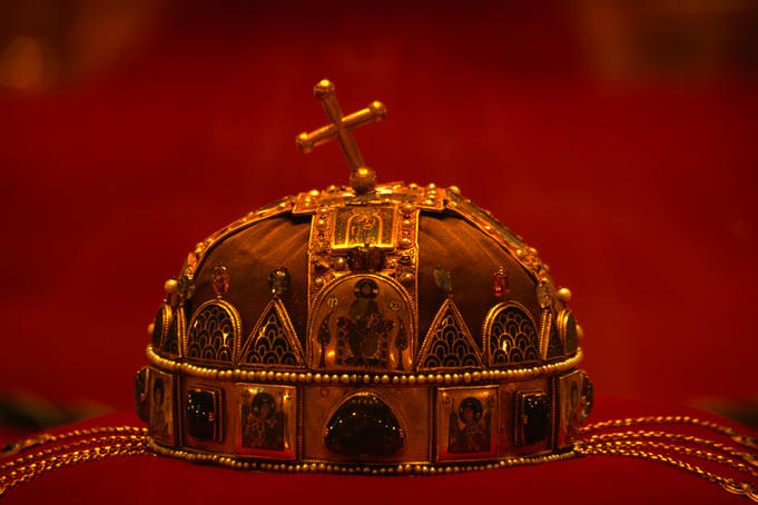 The Holy Crown of Hungary (Magyar Szent Korona) or 'the Crown of St Stephen' (founder and hero of Hungary) in the Budapest Parliament Buildings.