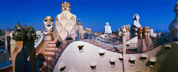Sunlit panorama of La Padrera rooftop, designed by Gaudi - Barcelona, Cataluna