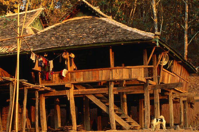Traditional house of the Jinuo people in Xishuangbanna.