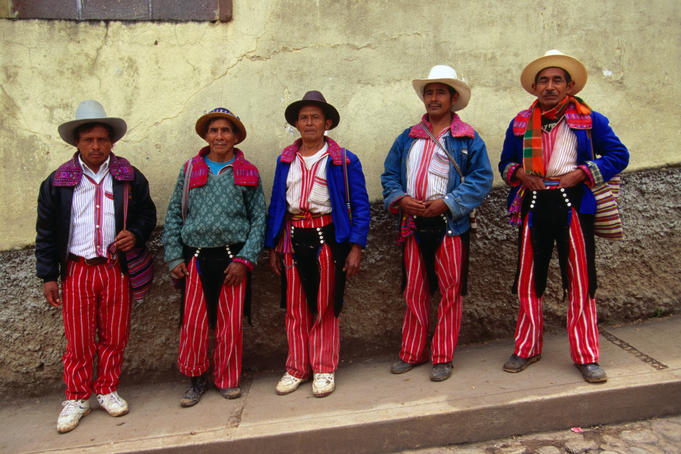 Local men of Todos Santos in traditional costume (called Tipicos) in the Guatemalan Highlands.
