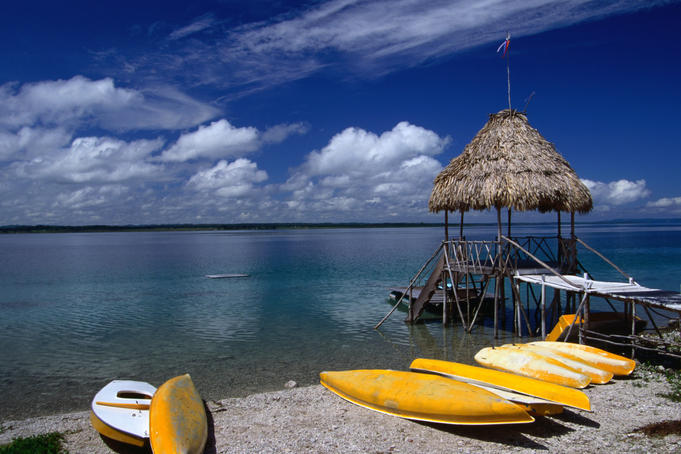 Kayaks for rent on the shores of Lake Peten Itza near Tikal.