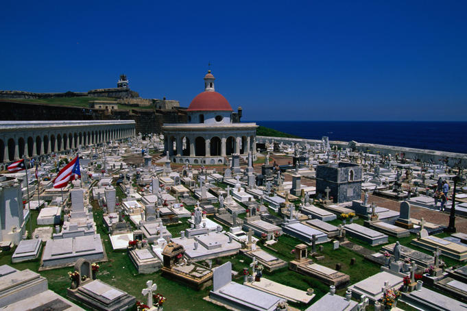 San Juan cemetery and the Neo-Classical chapel dedicated to Mary Magdalen.