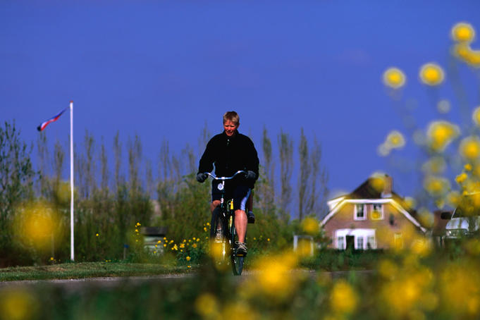 Cyclist on one of the many Dutch cycle paths.
