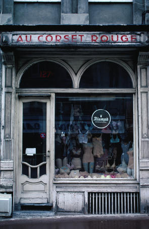 Front facade of old corset shop.