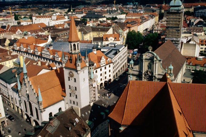Old town hall from St Peters Church, Munich