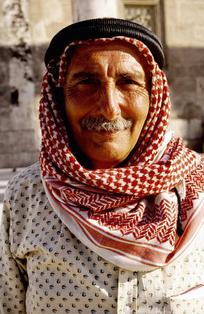 Portrait of guide in keffiyeh.
