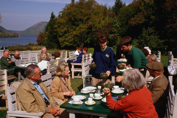 Afternoon tea at Jordan Pond.