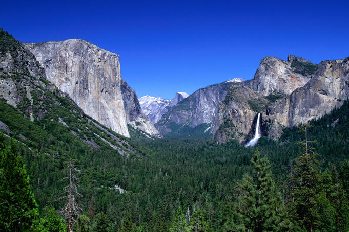 Distant Bridaleveil Falls (620ft) in the Yosemite National Park.