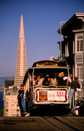 Cable car on Nob Hill.