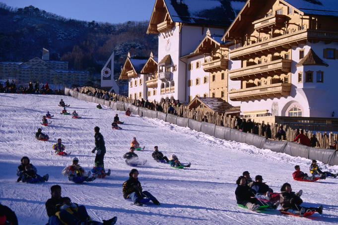Sledding at Muju ski resort in Togyu-san National Park.