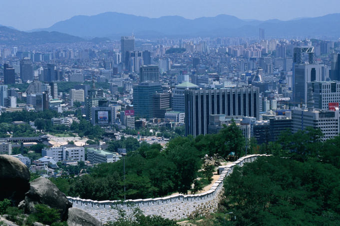 Part of the 18km, 12 metre high fortress wall that surrounds parts of the city of Seoul.